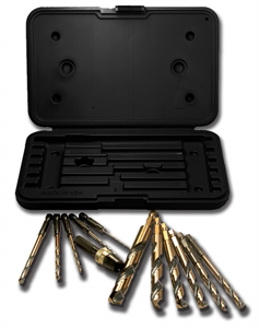 Picture of NO15-34811 12PCS Black & Gold Drill Bit Set - Mechanics Length -Quick Release - Split Point - QR-12 Norseman